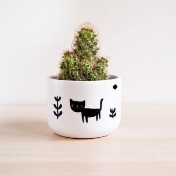 Ceramic cat plant pot, Ceramic planter, Succulent planter, Ceramics & pottery, Flower plant pot, Planter flower pot, Cute clay plant pots