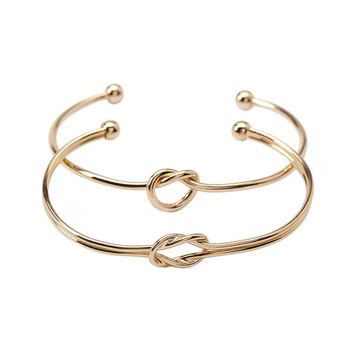 Knot Open Bangle - 2 Piece Set