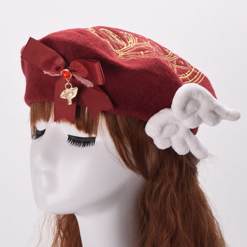 Cute Girls Lolita Beret Anime Cardcaptor Sakura Cosplay Clow Card Embroidery Wool Blend Hat with Bows