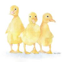 Three Ducklings Watercolor Painting 5 x 7 - Giclee Print - Fine Art print - Nursery Art