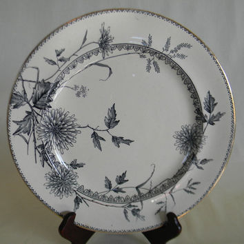 Aesthetic Movement China Black Transferware Plate Trailing Vines Spider Mum Chrysanthemum Staffordshire England