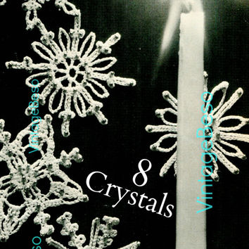 8 Snowflake CROCHET Pattern Vintage 1960s Crystals Crochet Pattern PdF Pattern Instant Download