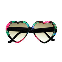 Womens Cute Floral Print Heart Shaped Sunglasses Shades W2100