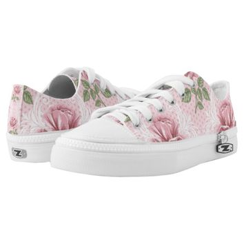 Shabby chic lovely pink rose printed shoes
