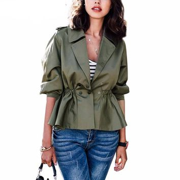 Army green short trench coat