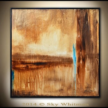 Framed Abstract Painting Large 31x31 Square Oil Painting Modern Brown and Rust Earth Tones Original Abstract Art Glossy by Sky Whitman