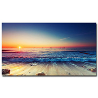 """Sunset - Tropical Beach Ocean Sea Art Silk Fabric Poster Print 13x24 24x43"""" Sunrise Nature Pictures For Wall Decor 014"""