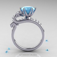Art Masters 14K White Gold 3.0 Ct Aquamarine Dragon Engagement Ring R801-14KWGAQ