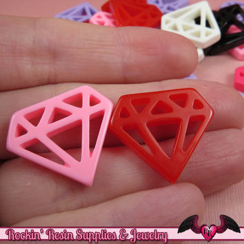 6pc DIAMONDS Flatback Resin Decoden Cabochons / Cellphone Deco 24x21mm