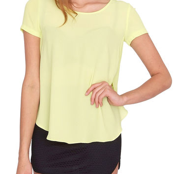 Reasonable Short-Sleeve Top - Yellow Sheer