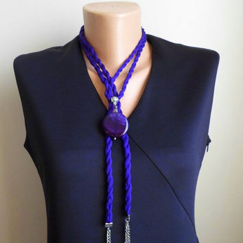 Long Fabric Necklace. Agade pendand. Lariat Necklace. Hot purple fashion cord. Hot purple large agade, Glass pearls, amethyst.