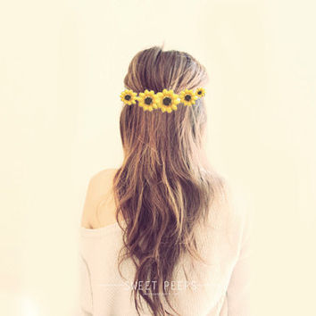 Hipster Daisy Flower Headband, Flower Crown, Hippie Flower Crown, Head Chain Flower HeadBand,