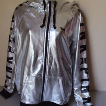 Victoria's Secret PINK Metallic Silver Fashion Show 2014 Jacket Hoodie Medium