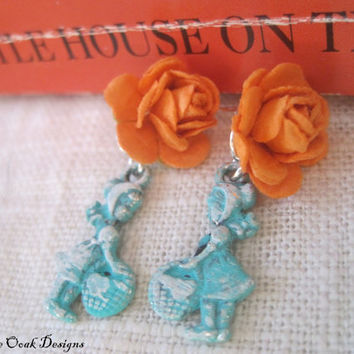 Prairie Girl Rose EarringsShabby Chic Patina by VintageOoakDesigns