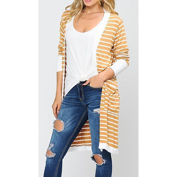 Long Sleeve Striped Cardigan with Side Pockets