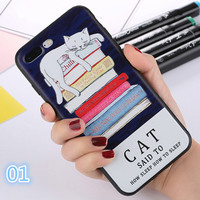 For iphone 7 Case Lovely Cartoon Cat Phone Cases For iphone 7 6 6s Plus Fashion Cat Soft 3D Relief Back Cover Coque Fundas-0405