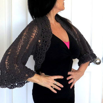 Sparkly Grey Bolero Shrug, hand knit sequined sweater shrug, fine knit outerwear
