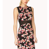 Black Floral Mesh Accent Sleeveless Bodycon Mini Dress
