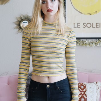 Meghan Turtleneck Striped Longsleeve (Mustard)