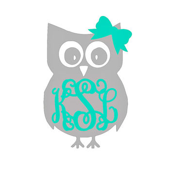 Six inch monogram owl car decal monogram owl laptop decal monogram owl car sticker monogram owl