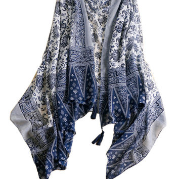 Blue Tile Printed Tasseled Scarf