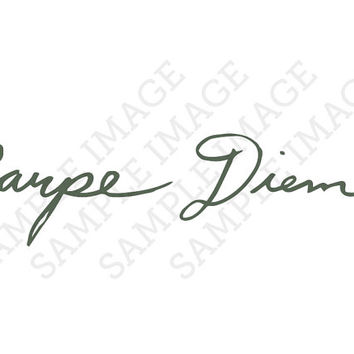 Carpe Diem Latin Calligraphy Cursive Fake Temporary Tattoos