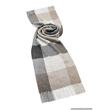 """Alpaca Blanket Scarf - Shawl - Natural Gray Check - 24"""" Wide, Made in England, Bronte Moon"""