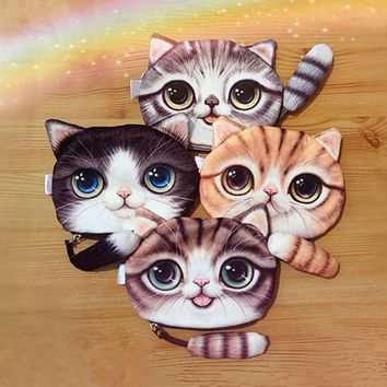 Children Cute Cat Face Tail Coin Purse Kids Wallet Bag Change Pouch Key Holder  Au28