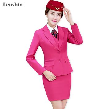 Lenshin 3 Piece Set Office Ladies Rose Skirt Suit Uniform Designs Women Business Suits for Work Formal Wear