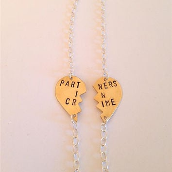 PARTNERS IN CRIME bracelets, brass, broken heart friendship bracelets, Partner in crime