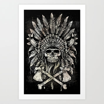Native Headdress Art Print by Derrick Castle
