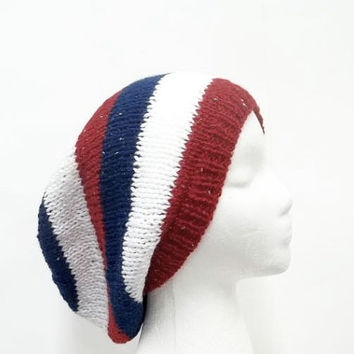 Red white blue knit slouch hat sparkle  large size 5254
