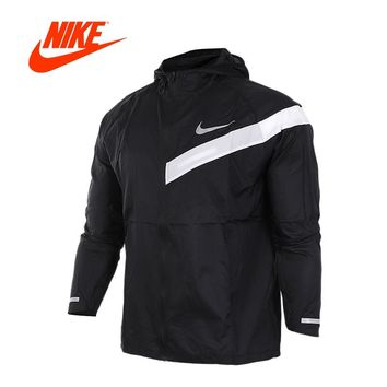 Original New Arrival Authentic Nike Men's Windproof Windrunner New  Jacket Black with White Nike logo