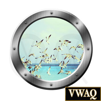 Seagulls Ocean Window Porthole Peel and Stick Decal Wall Art Decor SP37