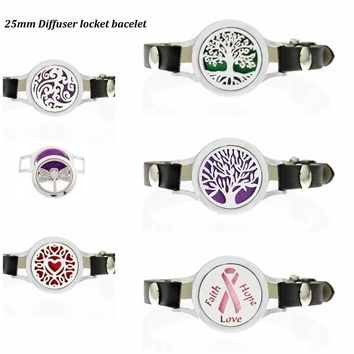 Tree of life Ribbon Essential Oil Diffuser Locket Bracelets Pu Leather twist screw 25mm locket for Women Aromatherapy Bracelet