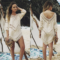 Sexy Lace See-through V Neck Beachwear Bikini Cover Up a11575