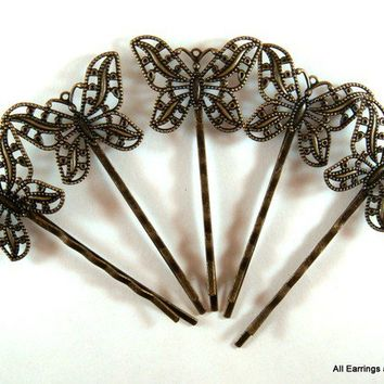 5 Butterfly Bobby Pin Hair Accessory Antique Bronze 63x31mm - 5 pc - MS11030BP-AB5