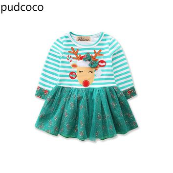 Christmas Kids Baby Girls Green Dresses Cotton Striped Tulle Party Tutu Xmas Dresses Long Sleeve Ball Gown Dress Clothes
