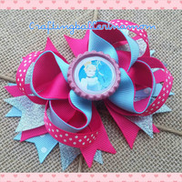 Cinderella Hot Pink Blue Hair Bow - Disney Princess Birthday Hair Bow - Disney World Vacation - Birthday Favor -Stacked Layered - Necklace