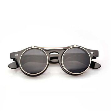 2017 Goth Steampunk Sunglasses Women Men Retro Goggles Round Flip Up Glasses steam punk Vintage Fashion Eyewear Oculos de sol