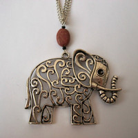 Tibetan Silver Elephant Necklace with Red Picasso Jasper and Black Glass Beads