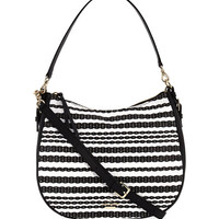 kate spade new york cobble hill mylie straw shoulder bag, black/cement
