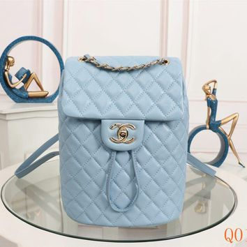 HCXX 19Aug 113 91120 Vintage Fashion Embossing Large-capacity Backpack 25-20-10cm Blue Gold