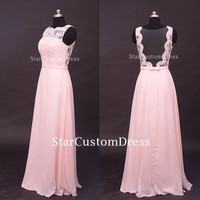 Long Lace Bridesmaid Dress Chiffon Dress Open Back Blush Long Formal Dress