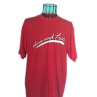 Vintage 80s Red TShirt, XL Alive and Free T-Shirt, Hanes Fifty Fifty, Comfy Vintage Tee Shirt T Shirt