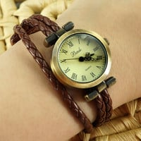 Handmade Simple Leather Strap Bracelet Watch