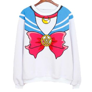 Sailor Moon Cosplay Sailor Outfit Graphic Print Crew Neck Pullover Sweater in White