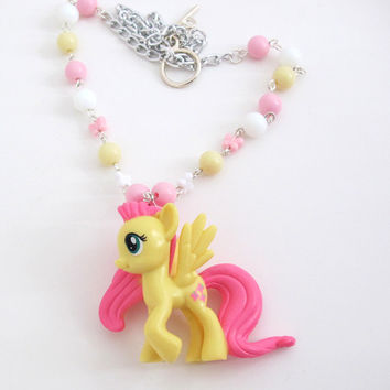 MLP My Little Pony Fluttershy Necklace. Kawaii Fairy Kei Pink Yellow White Necklace
