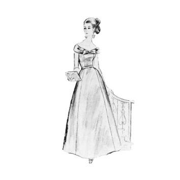 1950s Elegant Evening Gown Dress Off Shoulder Sewing Pattern Size 18 Bust 38 Modes Royale E 2235 FACTORY FOLDED