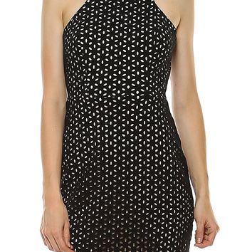Teeze Me | Sleeveless Halter Laser Cutout Sheath Dress | Black/Nude